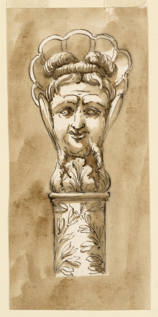 Drawing, Head of a walking stick