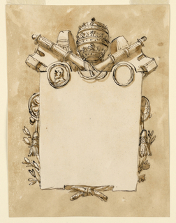 Vertical rectangle. A tablet with two circular arcs above and an angular broken edge below is in front of the crossed papal keys from which a tassel hangs on either side; two crossed branches below. Below the arcs are medallions, the left one with a bust portrait. Usual background.