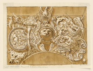 Horizontal rectangle showing a design for a military trophy. At center, a helmet in the antique style with a lion's head and eagle crest. Below are shields, spears and other instruments. At left, a boar head; at right, a lion head.
