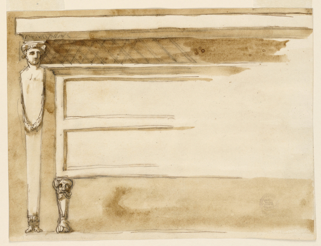 The left half I shown. A terminus carries the moulding top of the table. The chest of drawers is supported by a mark with a lion foot. The corner of its top lies upon the side shoulder of the terminus. The drawers are indicated by formed oblongs.