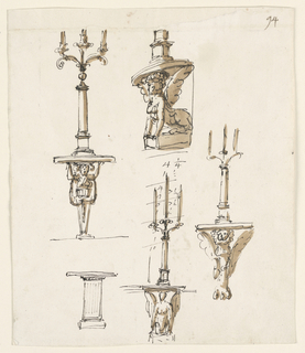 Drawing, Five console tables, three with candlesticks