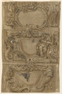 At top, a child's head is in the top center of the escutcheon, which stands in front of a panel with an ovolo on top. Volutes of two alternative designs flank the entablature. At center, the left and the right halves show different, alternative designs. A foliated mask is in the top center. A putto stands at right. The escutcheon stands in a frame with a laurel molding. At bttom, a scrollwork escutcheon of two alternative designs. A lion-man mask is on top.