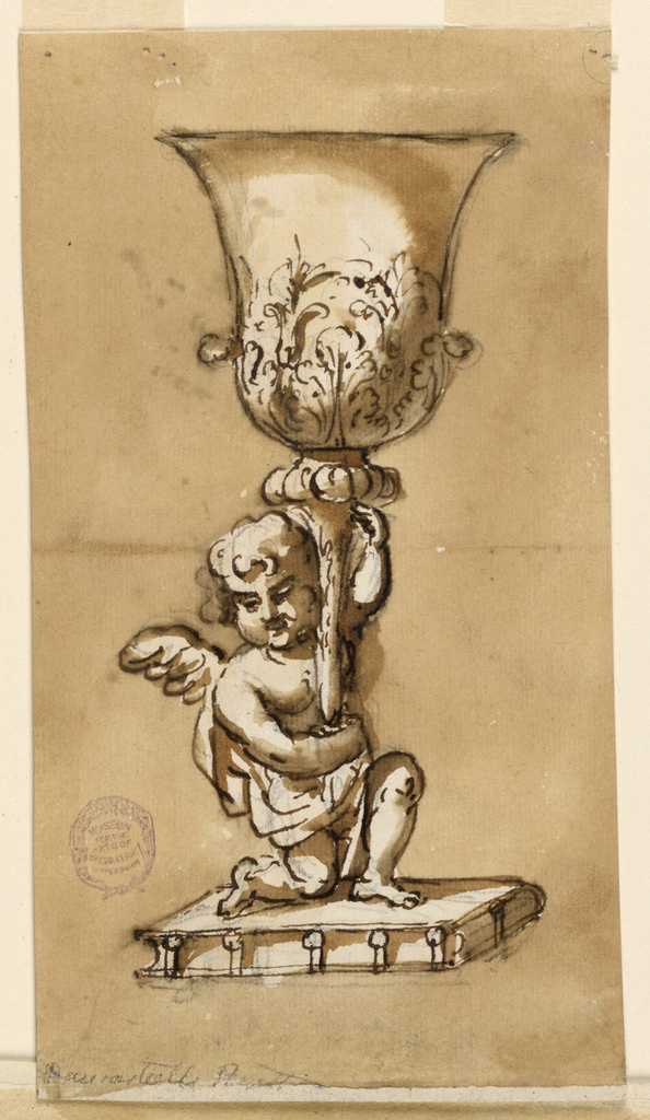 A flared chalice decorated with acanthus leaves is supported by an angel standing on a platform.