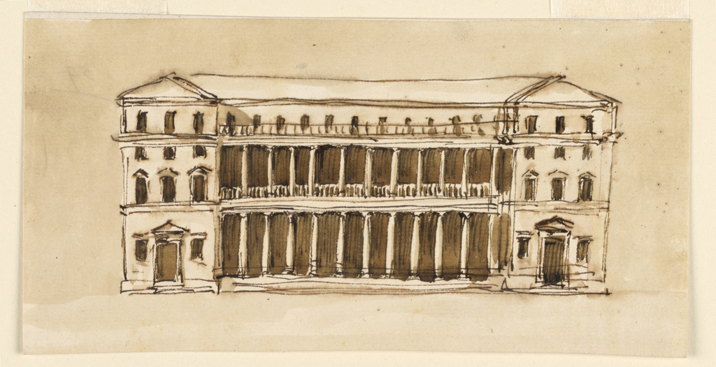 Two colonnades of twelve intercolumnar spaces each and with a balustrade or a railing on top stand before the bottom floors of the central section. They connect the projecting lateral wings, which have three bays and four stories, a mansard over the main story included. Doors with triangular pediments lead to the wings. Colored background.