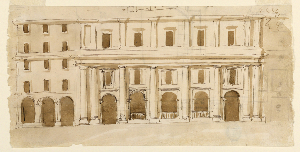 Shown is the left side. The central part is projecting. It shows three stories. The two lower ones are framed by columns of a Doric order and an entablature. At the corners are pairs of columns. The three central bays of the ground floor are bordered by the arches of a colonnade with a baulstrade below. The lateral bays have door openings. Windows in oblong panels are in the second story. In the third story are windows in wall panels, bordered by columns or pilasters. The lateral side at left shows five stories. The ground floor has a colonnade of three bays in front. The upper stories have three windows each. The entablatures above the ground floor and above the second floor of the central part are continual. The upper one separates the windows of the third and fourth stories. At the upper edges is a part of a sketch. Verso: part of a sketch of an elevation and of a plan.