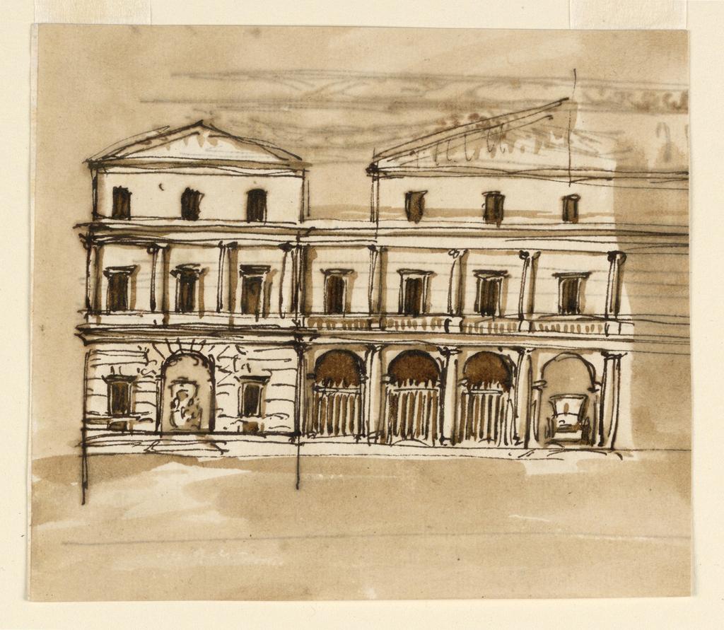 Drawing, Verso: mansion; Recto:entablature