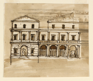 Drawing, Verso: mansion; Recto:entablature