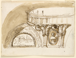 Somewhat less than a quarter is shown. Pair fo gaines support the octagonal central framing, over which the top part of an ovoidal colonnade is shown. An ovoidal niche with a bust fills an interval between the gaines. A semi circular landscape under a pointed arch in the corner.