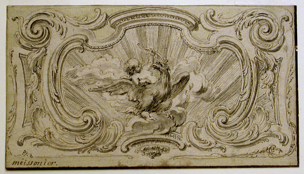 "Within a rocaille cartouche frame is a sunburst surrounding a putto on the back of an eagle, wings outspread. The eagle rests on a cloud and holds a bolt of lightning with its right foot.  Verso: fragment of geometrical accounting (in pencil) in ""p(ied)s"" and ""po(uces)."""