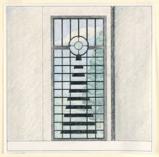 Square format drawing with black framing lines. Design for a garden gate door, likely to be executed in iron, embedded within gray (possibly concrete) wall. The gate consists of a large vertical rectangle with a grid of horizontal and vertical bars in the lower two-thirds and vertical bars in the upper third separated by a thicker horizontal bar and a circle with compass-rose like geometric decoration at center. Below the circle, a series of thick black horizontal trapezoidal forms gradually increasing in length so that the overall form is a tall isoceles triangle. Through the gate, view of a green leafy tree, lawn, and blue cloudy sky.