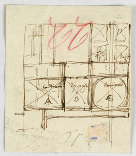 """More than half of a wing of a building is shown in plan view, architectural drawing. Some of the rooms are marked with letters and writing; """"Cardinali A""""; """"dispensa / B""""; """"Coeina / C""""; """"D / Infe / . . ."""""""