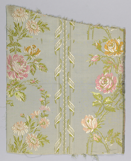 light blue/green with pinks and oranges, columns of ribbons and flowers