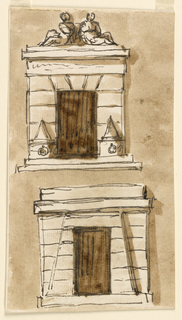 Drawing, Two designs for prison doorway erected by Pope Pius VI