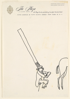 Caricature of man wearing a very tall hat sketching the rear end of a horse. Drawn on stationery from The Plaza, New York.