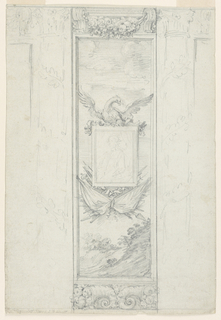 Drawing, Decoration of a wall panel with escutcheon, ca. 1790