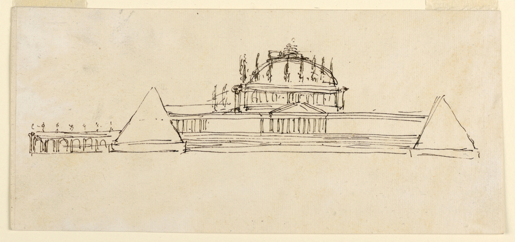 A variation of -1159, bottom: ovoidal colonnades connect the two pairs of corner pyramids. A portico is in the center of an enclosure, surrounding the platform. Statues stand upon the entablature of the chapel.