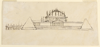 Drawing, Elevation of a mausoleum