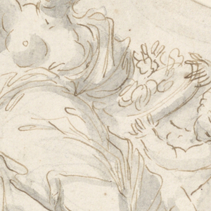"""Vertical drawing  of a side panel of a coach.  """"Autumn"""" is shown seated in clouds.  A putto standing at right beside her, wing-like, brought her a bowl with fruits.  She raises her left hand with a bunch.  She is crowned with a wreath."""