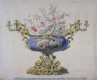 """The body of the jardiniere is of blue porcelain, with a central field depicting three figures in a landscape, within a narrow gold frame.  Mounted on a bronze base containing an oval porcelain portrait within it; flanked by handles terminiating in candelabra.  Flowers in the jardiniere.  Inscribed lower center: No. 564. Grande Jardiniere en porcelaine pate tendre montee da Bronze dore - Peinture exacutee a la manufacture de Sevres.  Hauteur totale 70: longeur avec les Bouquets 100c."""""""