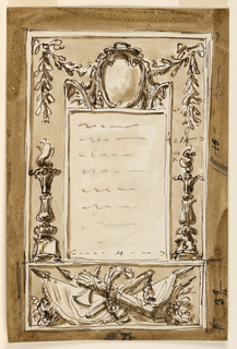 Vertical rectangle. Subdivided into a panel below, decorated with a trophy or arms; surrounded by a wreath standing upon it, and the remaining part of the outer frame. Panel for the inscription. On top of the frame of the inscription is a prelate's escutcheon between two acroteria. A festoon  hangs in the panel of the outer frame. Laterally, two candelabra crowned with flames. The dimensions are written inside or beside. Dark background.