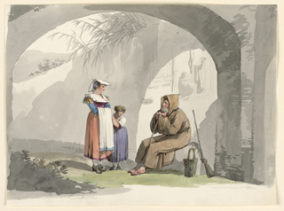 Drawing, Two Girls from Frascati Visit a Hermit