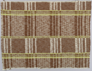 Fabric sample with green stripes and reversing bands of brown and white.