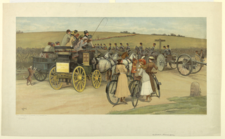 A field with infantry and horse troops. In the foreground, a London and Brighton coach, women with bicycles, and a cannon. Artist's name, lower left. Below in graphite, and the date, title and publisher's name.