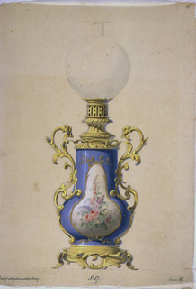 The body of the lamp is a light blue porcelain vase with a central field of flowers against a white background, within a gold frame.  Base, handles, and fixture supporting the glass globe surmounting the vase, are of bronze.