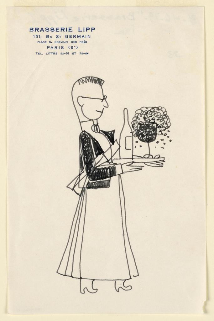 Drawing, Brasserie Lipp I: Waiter