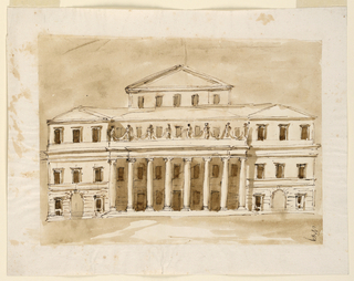 Drawing, Facade of a large palace with columned portico
