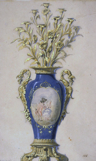 "The body of the lamp is a blue porcelain vase with an oval central field depicting a pair of figures against a light background, enclosed in a narrow gold frame.  Mounted on a bronze base, surmounted by a candelabrum in the form of branches with leaves and flowers, the candle-holder rising from the flowers.  Inscribed lower left: ""Candelabra porcel. and Bronze a 9 bougies;"" at lower right ""hauteur 84c;"" lower center: ""No.70."""