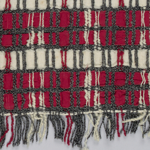 Horizontal bands of red and white with vertical lines of gray and white.