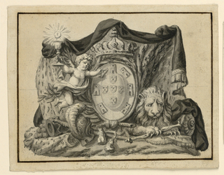 Horizontal rectangle. It stands in front of a manteling. A lion with a mace lies at right, arms lie at left. An angel, raising the chalice with the Host with his right hand, flies above them. He points with his left forefinger at the coat of arms. Background, framing lines as in -429.