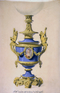 "The body of the lamp is a blue porcelain vase with a central field in the form of an oval containg a bust-length portrait of a woman.  The portrait is enclosed in a bronze frame, flanked by garlands which are tied to the bronze handle mounts.  Bronze base and fixture above holding a glass globe (partly shown.) At lower center: No. 518. Lampe ""Cares"" pate tendre and Bronze. haut. 74c largeur 40c."" (inscribed.)"