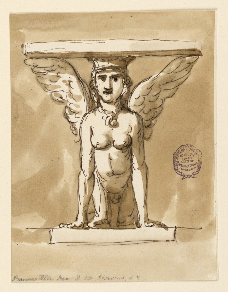 Elevation of a table, the base in the form of a sphinx with outstretched wings.