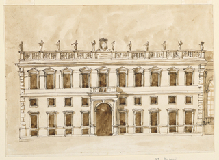 Drawing, Elevation of a lateral wing of a palace