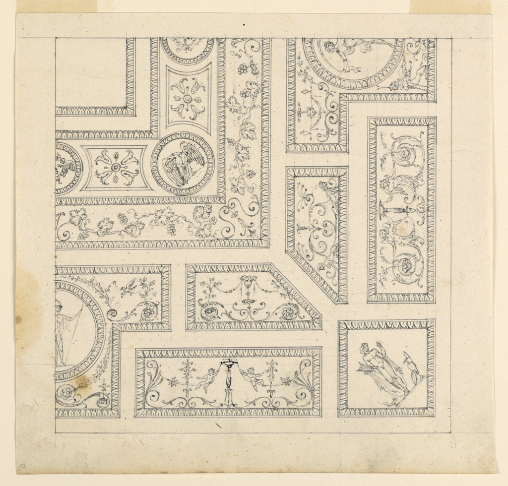 Portion of a ceiling shown divided into small panels, each with a grotesque. At the corner, a square panel with a classical figure. In the opposite corner, a roundel with an eagle.