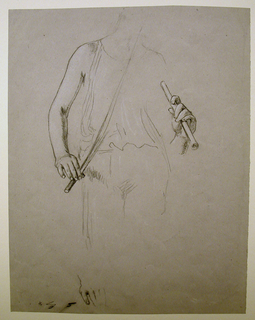 Torso lightly draped and briefly indicated emphasis on the right hand; left hand holding flute. Below, brief sketch of hand.
