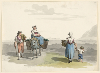 A man as in plate 35, loc. cit., walks beside a woman on a donkey. Another woman and a boy are shown from the rear walking.