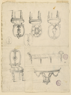 Four chair designs with round seats.