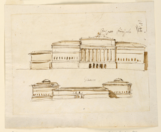 Drawing, Front and side elevations of a palace