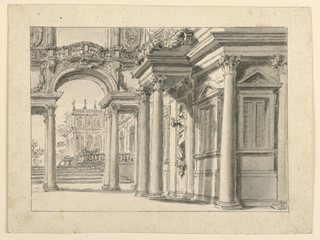 Horizontal rectangle showing the garden face of a palace. At left, an arcade surmounted by a balcony.  In the background, two staircases and two lion fountains.