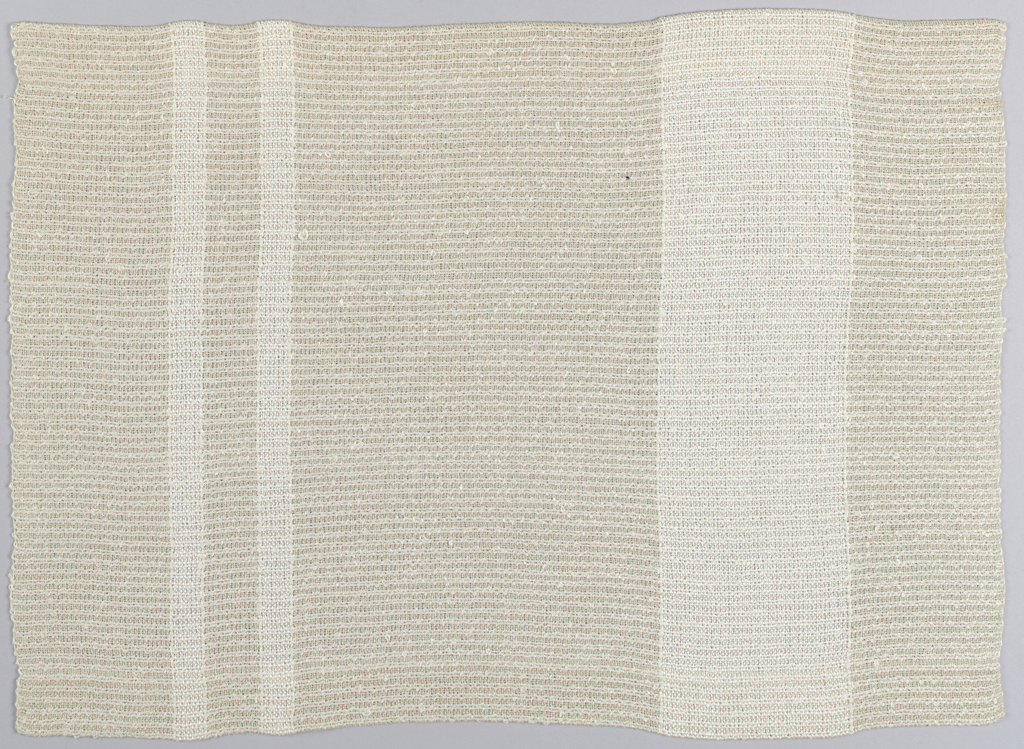 Tan stripes with stripes and bands in boucle white linen.