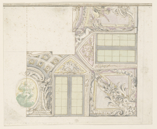 The wall is decorated with a dado and with a landscape and a seascape; the former is visible through a gallery, the latter from a loggia. The ceiling shows a view of a sky, framed by balustrades.