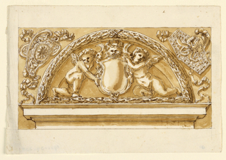 Design for a demi-lune tympanum with putti holding a blank crest. On either side, decorative devices encircled by ribbons.