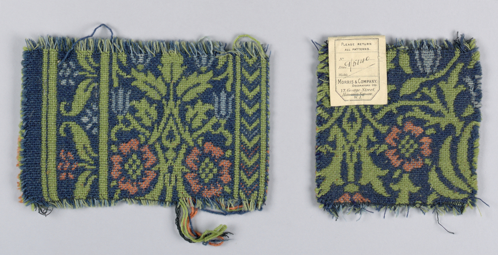 Carpet fragments similar in style to Kidderminster or Ingrain carpeting. Component A is a border section with a symmetrical floral repeat within various guard borders. In coral, green, pale blue on a dark blue ground. Component B is a section of the field with medium-scale allover symmetrical flower and leaf pattern.