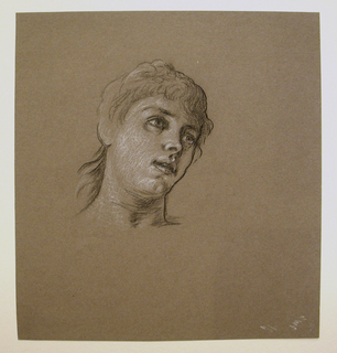 Head of a young girl, turned toward the right in three quarter view, tilted slightly upward.