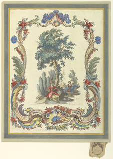 Print, Couple Beneath Tree, Third Figure Lurking, 1684-1756
