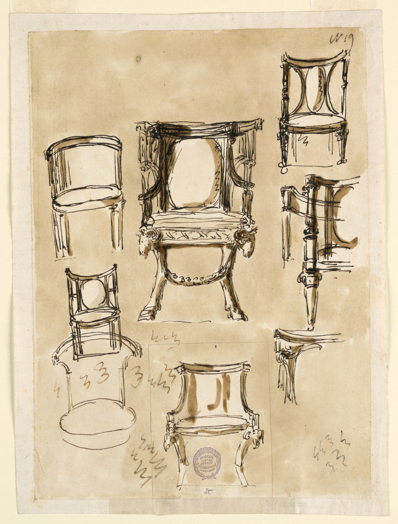 Various views of a barrel-back chair. One is decorated with ram's heads and hooved feet.