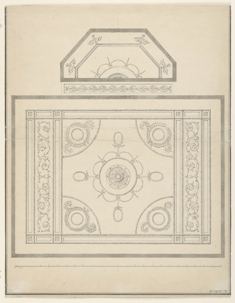 Vertical format design for a plaster ceiling with bay, scale in black ink at the bottom, ruled border line in black ink on three sides. Inscription at lower right.